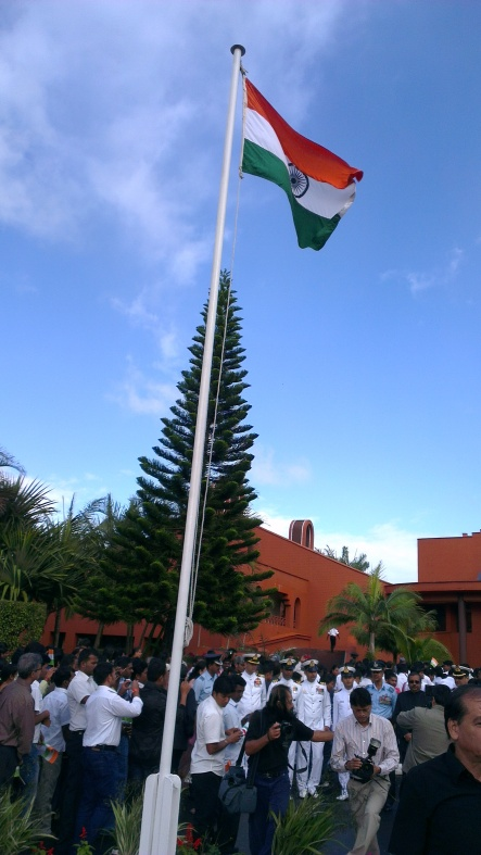 The Indian Flag was unveiled by Indian High Commission and flies high in the sky. A proud moment for Indians.
