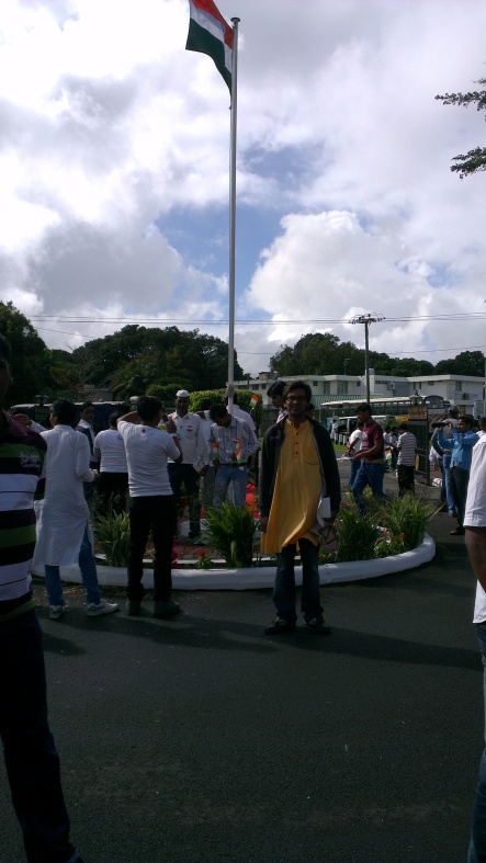That's me, right as I stand proudly below the Indian National Flag on August 15.