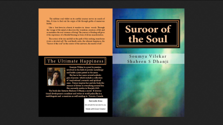 The book  SUROOR OF THE SOUL and the back page shows author, Soumya Vilekar.
