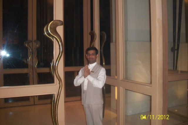 Welcoming the guests at Trident, Gurgaon