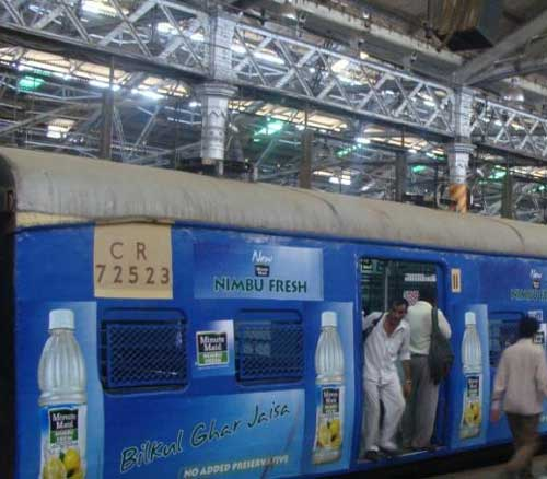 Nimbu Fresh ad on local train