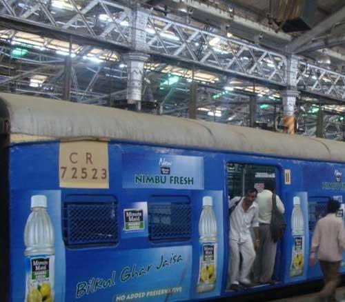 Nimbu Fresh ad on local train
