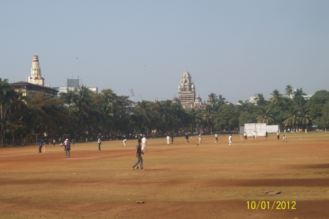 Oval Maidan giving a faraway view of Mumbai Supreme Court.