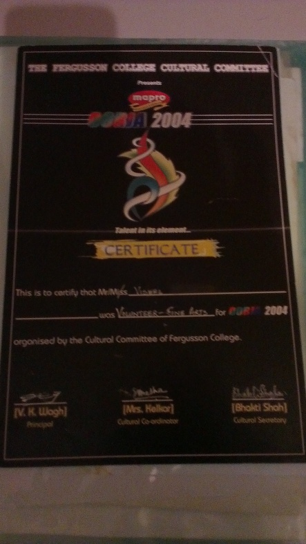 My pride, Oorja Certificate as Fine Arts Volunteer during the first outing and means lot to me.