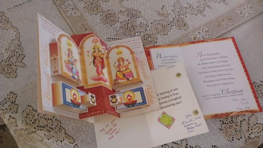 Collection of cards sent by Mom and Dad for Diwali and XMas, the miniature cute one sent by my neighbor.