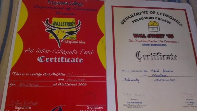 Certificates as Volunteer
