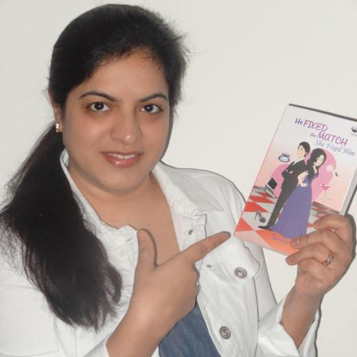 Author Shikha Kumar with  her book, He Fixed the Match She Fixed Him