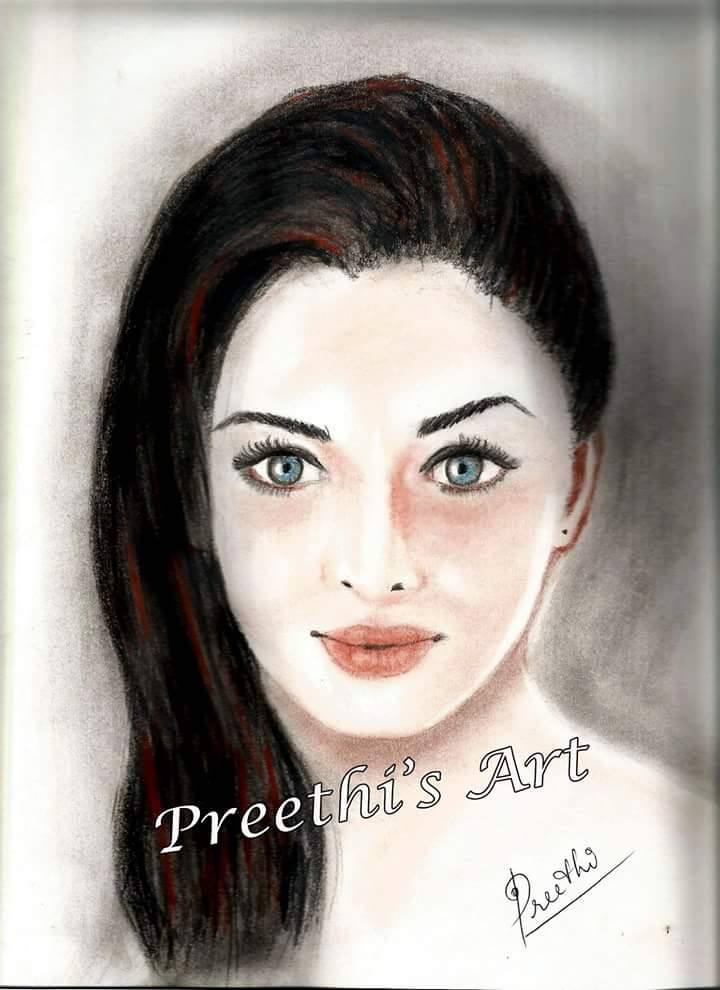 A portrait by Preethi. Copyrights belong to Preethi Venugopal and the artist's permission required before taking images on the blog.