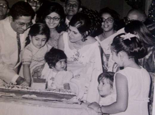 Mehroo's first birthday with parents in Bombay.
